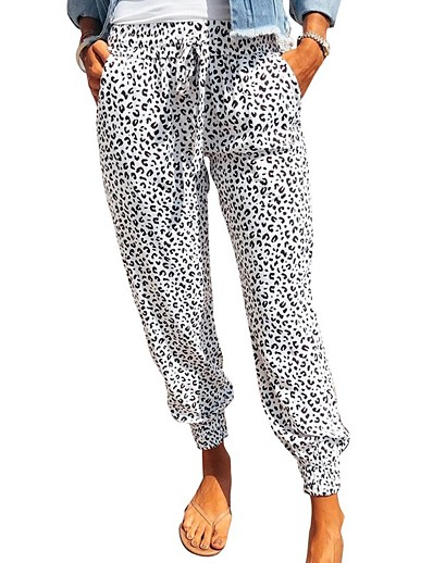 cheap Bottoms-Women's Basic Comfort Slim Daily Jogger Chinos Pants Leopard Ankle-Length High Waist White