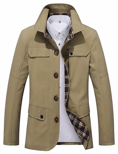 cheap Men's Outerwear-Men's Stand Collar Winter Jacket Regular Solid Colored Daily Basic Long Sleeve Cotton Black Army Green Khaki M L XL / Work