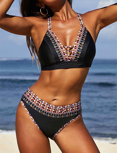 cheap SWIMWEAR-Women's Fashion Bikini Tankini Swimsuit Criss Cross Color Block V Neck Swimwear Bathing Suits Black Blue / Padded Bras
