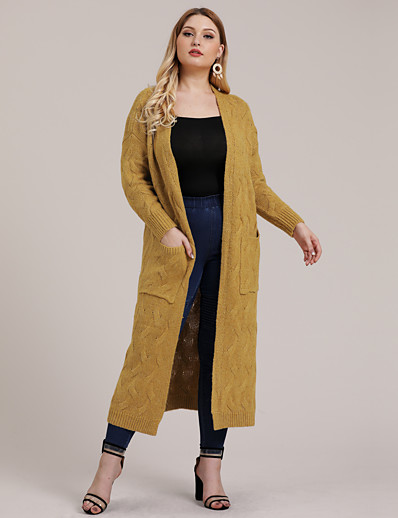 cheap TOPS-Women's Knitted Solid Colored Cardigan Long Sleeve Plus Size Loose Sweater Cardigans V Neck Fall Winter White Black Yellow