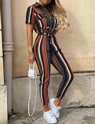 cheap Women's Rompers-Women's Basic Army Green Black Rainbow Loose Romper Solid Colored Color Block Letter Print