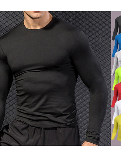 cheap Running, Jogging & Walking-YUERLIAN Men's Long Sleeve Running Shirt Underwear Compression Shirt Athletic Athleisure Fast Dry Breathability Quick Dry Fitness Gym Workout Running Bodybuilding Sportswear White Black Yellow Red