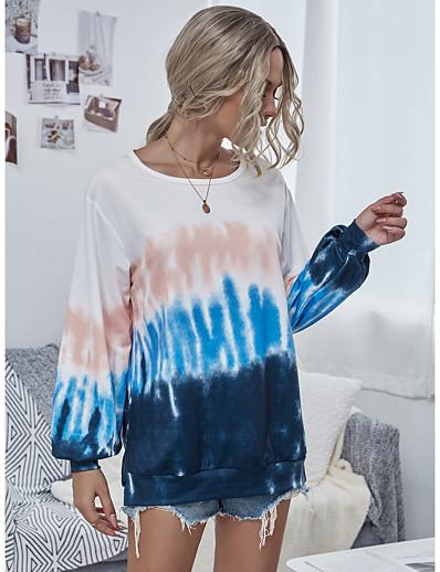 cheap Hoodies & Sweatshirts-Women's Pullover Sweatshirt Tie Dye Daily Casual Basic Hoodies Sweatshirts  Loose Purple Rainbow