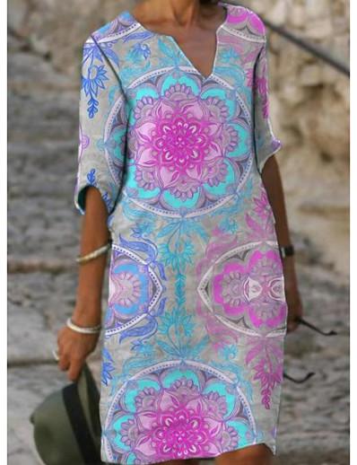 abordables Tendances 2021-Femme Robe Droite Robe Longueur Genou Rose Claire Demi Manches Fleurie Printemps Eté Simple 2021 S M L XL XXL 3XL