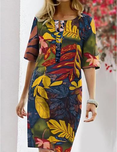 cheap Vintage Dresses-Women's Shift Dress Knee Length Dress - Half Sleeve Floral Print Summer Fall Vintage Going out Weekend 2020 Blue Light Brown S M L XL XXL XXXL XXXXL