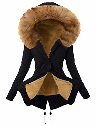 cheap Furs & Leathers-Women's Parka Fall Winter Spring Dailywear Regular Coat Regular Fit Casual Jacket Long Sleeve Classic Style Solid Color Gray Green Black / Lined / Cotton