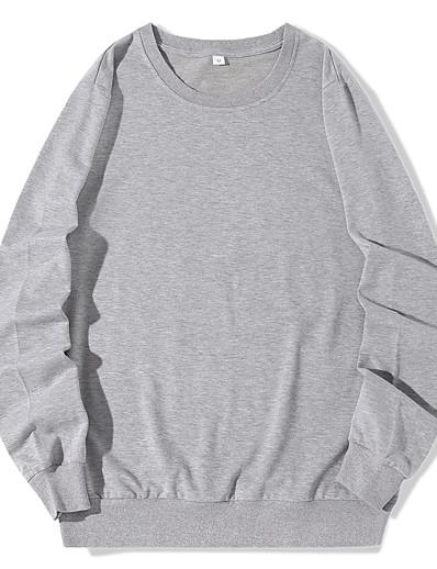 cheap Hoodies & Sweatshirts-Women's Pullover Sweatshirt Solid Colored Daily Casual Hoodies Sweatshirts  White Black Blue