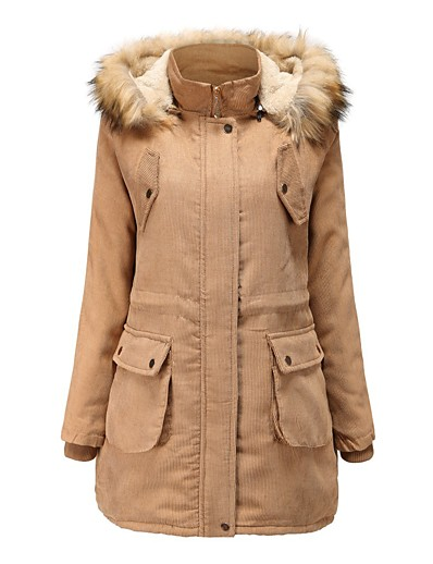 cheap Down& Parkas-Women's Padded Parka Solid Colored Long Polyester Blue / Red / Khaki M / L / XL