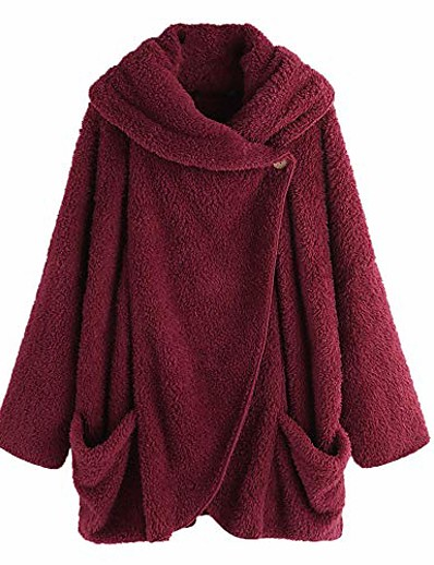 cheap OUTERWEAR-Women's Cloak / Capes Long Solid Colored Daily Basic Wine Red Black Navy Blue S M L