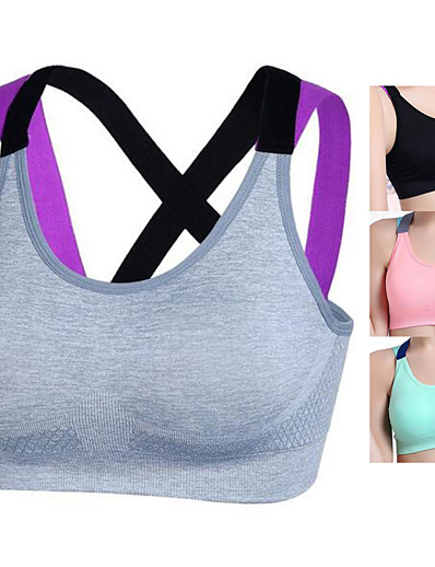 cheap Running, Jogging & Walking-Women's Cross Back Sports Bra Running Bra Yoga Fitness Gym Workout Breathable Soft Seamless No Padded Pink Grey Green Black Solid Colored / Summer