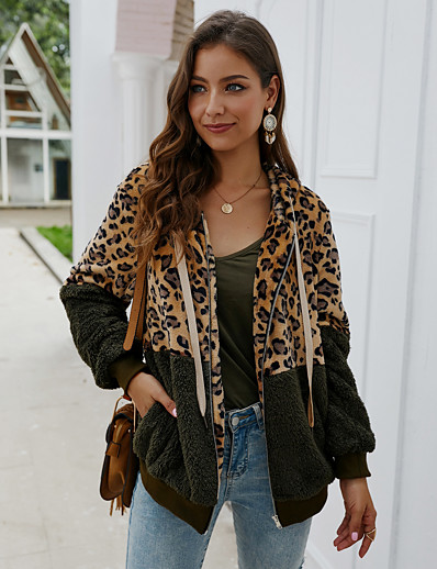 cheap Coats & Trench Coats-Women's Zipper Fall Teddy Coat Long Leopard Print Daily Basic White Black Wine S M L / Winter / Loose