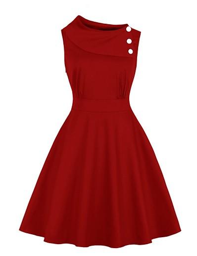 cheap HALLOWEEN 2020-Women's Swing Dress Knee Length Dress - Sleeveless Solid Color Summer Elegant Daily Slim 2020 Black Red S M L XL XXL