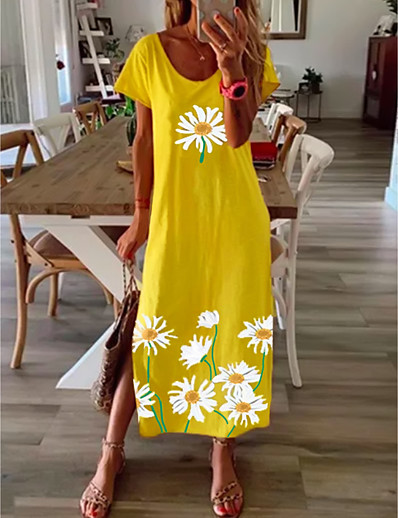 cheap NEW IN-Women's Shift Dress Maxi long Dress - Short Sleeve Daisy Floral Print Summer Casual Vacation Loose 2020 Black Blue Yellow Gray S M L XL XXL XXXL