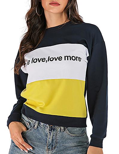 cheap Hoodies & Sweatshirts-Women's Plus Size Sweatshirt Color Block Solid Colored Letter Basic Hoodies Sweatshirts  Blue