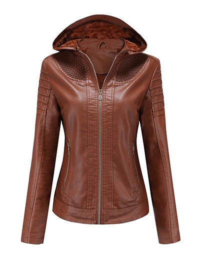 cheap Jackets-Women's Faux Leather Jacket Regular Solid Colored Daily Basic Black Red Camel XS S M