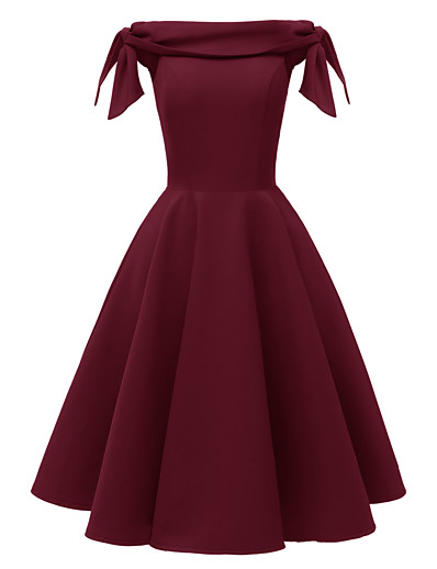 cheap Party Dresses-Women's A-Line Dress Short Mini Dress - Sleeveless Solid Color Bow Summer Off Shoulder Hot Sexy Party Slim 2020 Black Red Blushing Pink Wine Navy Blue S M L XL XXL