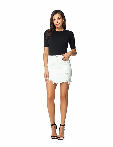 cheap Bottoms-Women's Daily Wear Basic Denim Skirts Solid Colored Embroidered White
