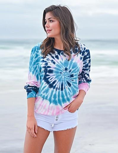 cheap Hoodies & Sweatshirts-Women's Blouse Shirt Galaxy Long Sleeve Print Round Neck Tops Loose Basic Basic Top Blue Fuchsia Royal Blue