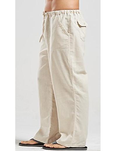 cheap Men's Bottoms-Men's Harlem Pants Casual Harem Straight Loose Pants Solid Color Full Length Pure Color White Black Blue khaki Green