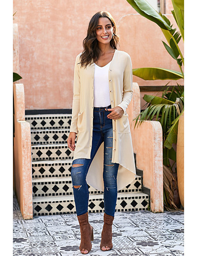 cheap Sweaters & Cardigans-Women's Solid Colored Cardigan Long Sleeve Sweater Cardigans V Neck Fall Winter Black Red Khaki