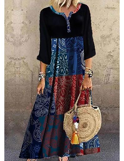 cheap Maxi Dresses-Women's Shift Dress Maxi long Dress - Half Sleeve Print Print Summer Casual Boho Daily Vacation 2020 Black S M L XL XXL XXXL