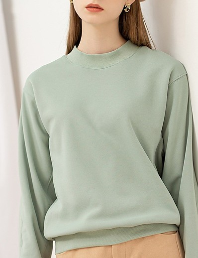 cheap Sweaters & Cardigans-Women's Pullover Sweatshirt Solid Colored Plain Oversized Daily Basic Hoodies Sweatshirts  Cotton Green Beige
