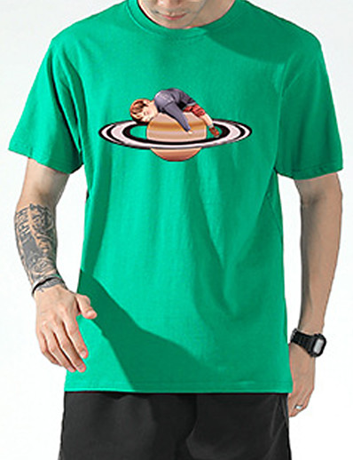 cheap Sports Athleisure-Men's T shirt Tee / T-shirt Black White Blue Pink Oversized Streetwear Crew Neck Letter Printed Cool Sport Athleisure T Shirt Half Sleeve Breathable Soft Comfortable Everyday Use Exercising General