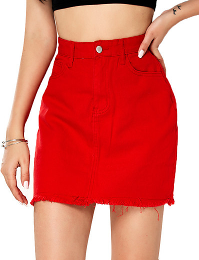 cheap Bottoms-Women's Daily Wear Basic Cotton Skirts Solid Colored Tassel Fringe Red / Mini