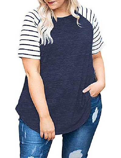 cheap Plus Size Tops-plus size womens tops short sleeve summer tees shirts loose tunic navy blue-28w