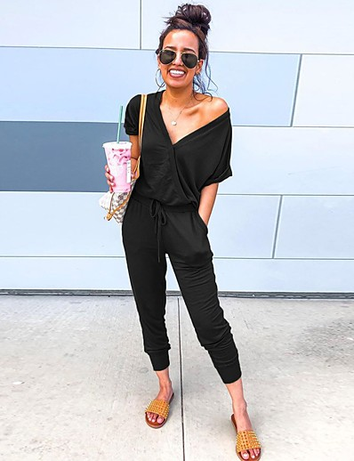 cheap JUMPSUITS & ROMPERS-Women's Basic Black Wine Green Jumpsuit Solid Colored Drawstring