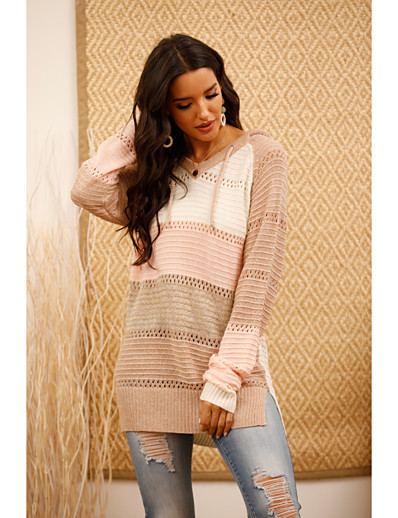 cheap Sweaters & Cardigans-Women's Striped Pullover Long Sleeve Sweater Cardigans V Neck Blushing Pink