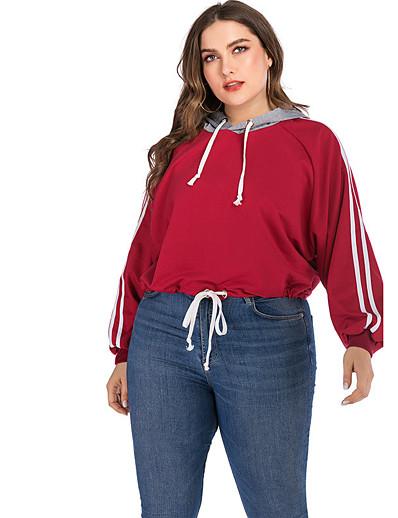 abordables Pulls & Gilets Grandes Tailles Femme-Femme Sweat-shirt à capuche Couleur Pleine Quotidien Chic de Rue Pulls Capuche Pulls molletonnés Ample énorme Vin
