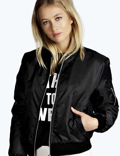 cheap Jackets-Women's Jacket Regular Solid Colored Daily Basic Black Wine Army Green S M L XL