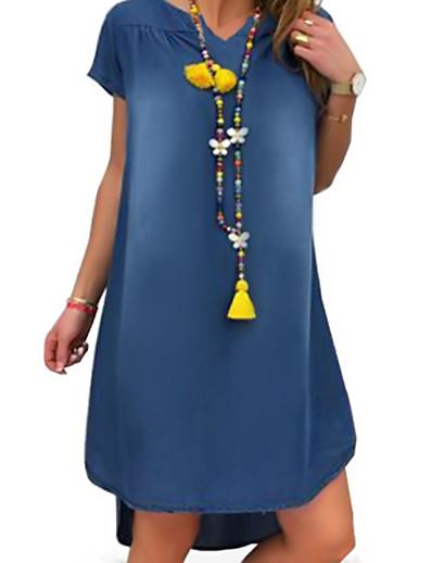 preiswerte Knielange Kleider-Damen Jeanskleider Knielanges Kleid Schwarz Blau Hellblau Kurzarm Andere Sommer V-Ausschnitt Freizeit 2021 S M L XL XXL 3XL