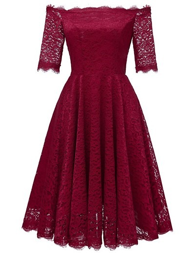 cheap HALLOWEEN 2020-Women's A-Line Dress Knee Length Dress - Half Sleeve Solid Color Lace Patchwork Summer Off Shoulder Sexy Daily Slim 2020 Wine Navy Blue S M L XL XXL