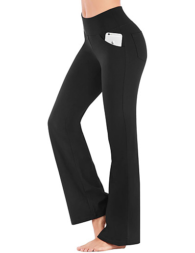 cheap Exercise, Fitness & Yoga-Women's High Waist Yoga Pants Bootcut Flare Leg Tummy Control 4 Way Stretch Breathable Dark Grey Wine Ion Grey Fitness Gym Workout Dance Winter Sports Activewear High Elasticity / Quick Dry