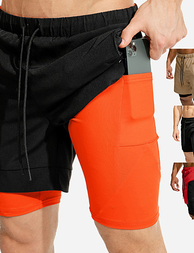 cheap Running, Jogging & Walking-Men's Running Shorts Sports & Outdoor Shorts Bottoms 2 in 1 with Phone Pocket Summer Fitness Gym Workout Running Jogging Trail Quick Dry Breathable Soft Sport Black / Orange Khaki Black Red