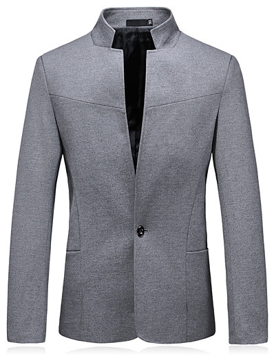 cheap Men's Outerwear-Men's Blazer Solid Colored Black / Navy Blue / Gray XL / XXL / XXXL