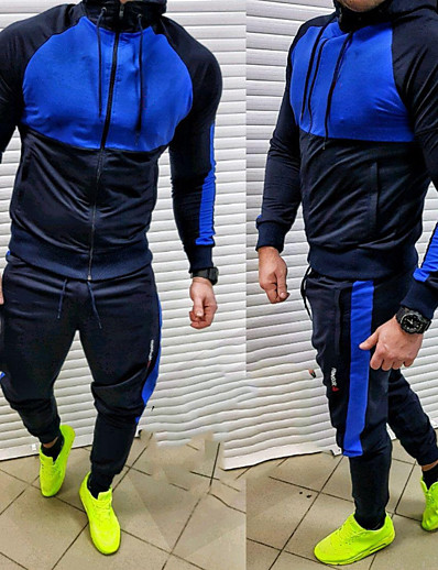 cheap Running, Jogging & Walking-Men's 2 Piece Full Zip Tracksuit Sweatsuit Jogging Suit Street Casual 2pcs Winter Long Sleeve Quick Dry Breathable Soft Fitness Gym Workout Performance Running Training Sportswear Hoodie Blue Gray