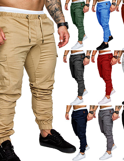 cheap Running, Jogging & Walking-Men's Joggers Tactical Cargo Pants Street Sweatpants Bottoms Drawstring Beam Foot Cotton Fitness Gym Workout Performance Jogging Training Wearable Breathable Soft Normal Sport Solid Colored Dark Grey