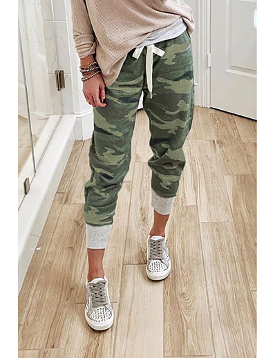 cheap Bottoms-Women's Basic Quick Dry Loose Daily Capri shorts Pants Camouflage Ankle-Length Print Army Green Orange Green