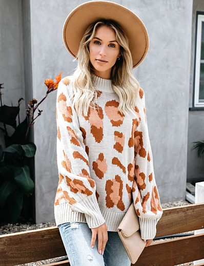 cheap Sweaters & Cardigans-Women's Stylish Knitted Leopard Cheetah Print Pullover Acrylic Fibers Long Sleeve Sweater Cardigans Crew Neck Round Neck Fall Winter Army Green Khaki Light gray