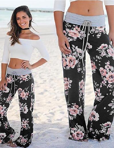 abordables Pantalons et Jupes Femme-Femme Ample Ample Pantalon Imprimé Noir Bleu Rose Poudré
