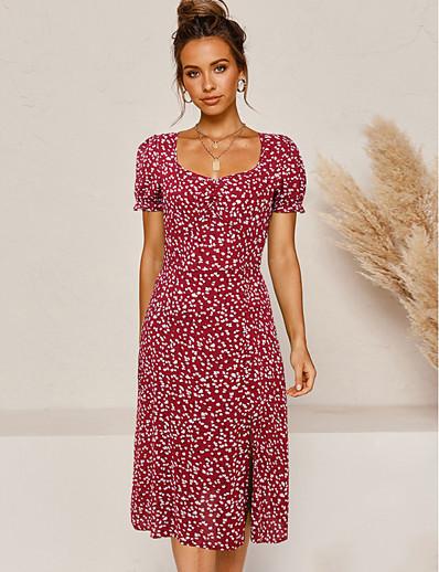 abordables VENTE-Robe Midi Femme Robe Fourreau Manches courtes Eté - Simple Fendu Fleurie 2020 Noir Rouge S M L XL
