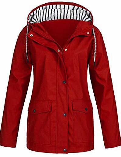 abordables Manteaux & Trenchs Femme-veste pour femme, veste de pluie solide pour femme en plein air plus imperméable à capuche rouge