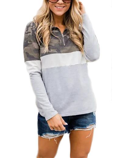 cheap NEW IN-Women's Pullover Sweatshirt Camo / Camouflage Quarter Zip V Neck Daily Basic Hoodies Sweatshirts  Loose Oversized Black Blushing Pink Gray