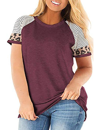 cheap Plus Size Tops-plus size womens tunics tops animal print tops raglan sleeve round neck t shirt wine red 22w