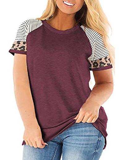 abordables Tops grande taille-plus la taille des femmes tuniques tops imprimé animal tops manches raglan col rond t-shirt vin rouge 22w