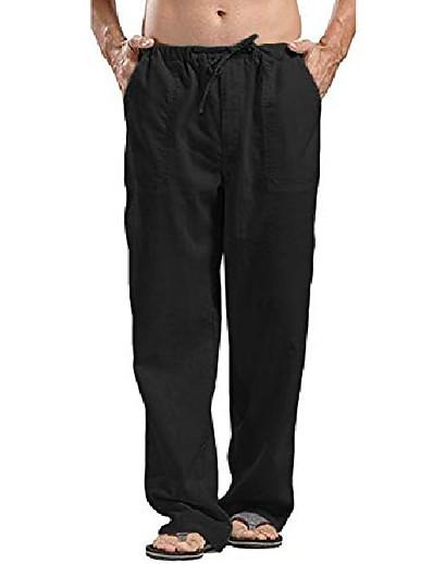 hesapli Koşu, Yavaş Koşu ve Yürüyüş-erkek gevşek rahat hafif elastik bel yoga plaj pantolonu pamuk