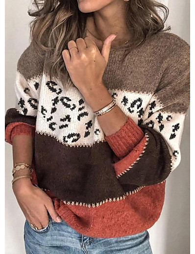 cheap Sweaters & Cardigans-Women's Stylish Knitted Leopard Color Block Cheetah Print Pullover Long Sleeve Sweater Cardigans Crew Neck Round Neck Fall Winter Red